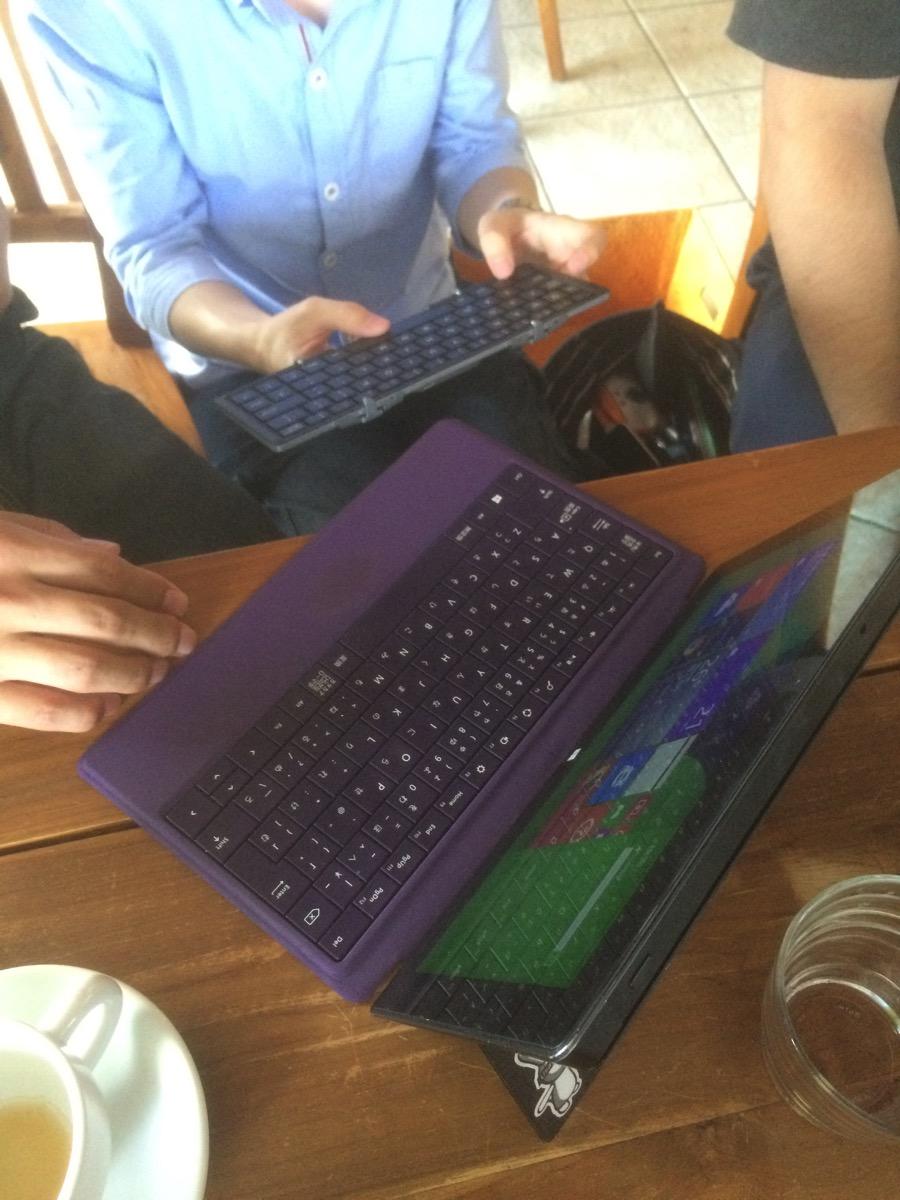 三つ折りキーボードをsurfaceに繋げて使ってみる
