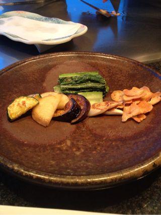 旬の野菜の鉄板焼き